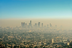 View of skyscrapers and layer of smog