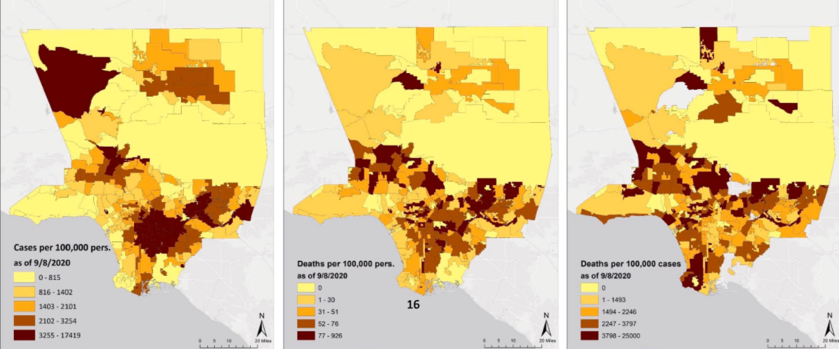 Maps showing pollution concentrations across L.A. neighborhoods